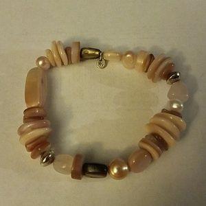 Silpad pink and sterling stretch bracelet
